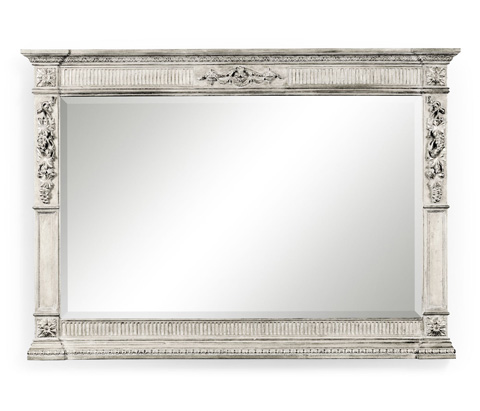 Image of Empire Style Silver Overmantle Mirror