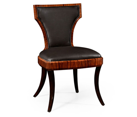 Image of Art Deco Side Chair with Smoky Black Leather