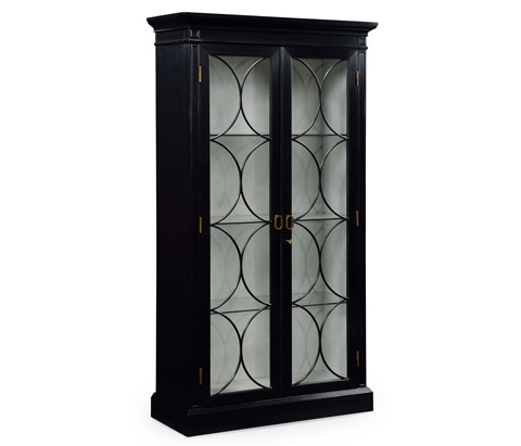 Image of Formal Black Painted Display Cabinet