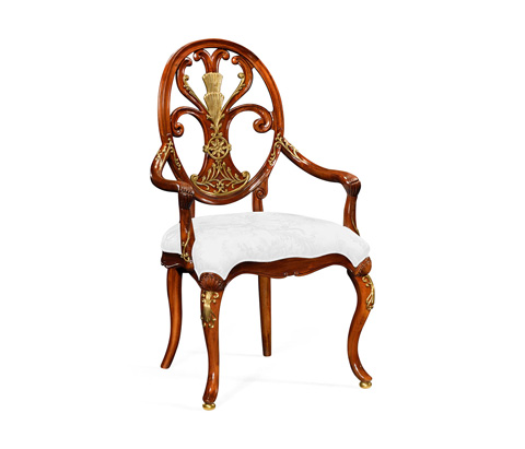 Image of Carving Oval Back Arm Chair
