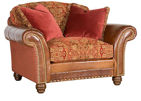 Image of Katherine Leather/Fabric Chair & 1/2