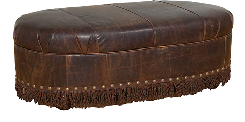 King Hickory - Cosmopolitan Leather Ottoman with Skirt - 0068-L
