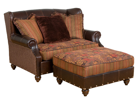 Image of Lucy Leather and Fabric Settee