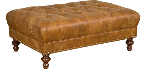 Image of Campaign Leather Tufted Ottoman