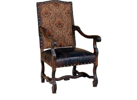 King Hickory - William Leather and Fabric Arm Chair - W-991-LF