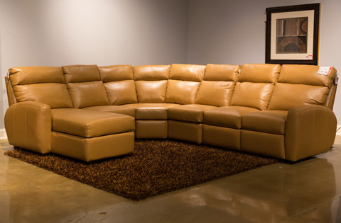 Image of Five Piece Reclining Leather Sectional Sofa