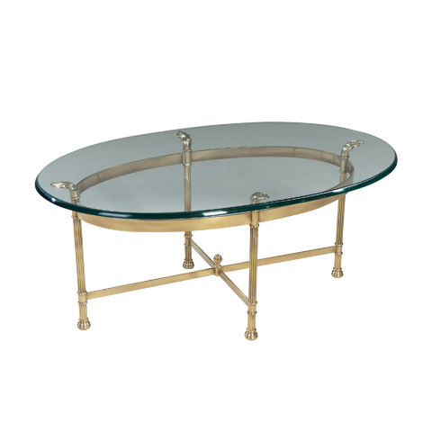 La Barge - Polished Solid Brass Oval Cocktail Table - 8251