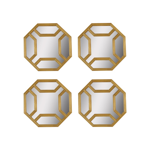 La Barge - Set of Four Octagonal Gold Gilt Finished Mirrors - LM2505