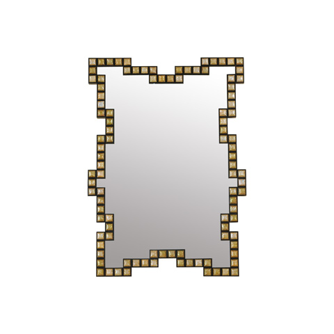 La Barge - Brown Lip Shell and Black Penshell Inlaid Mirror - LM2512