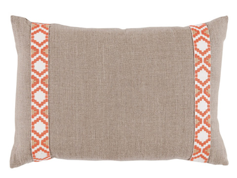 Lacefield Designs - Tan Coral Side Border Lumbar Pillow - D1000