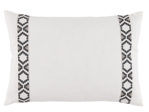 Lacefield Designs - White Oyster Side Border Lumbar Pillow - D1001
