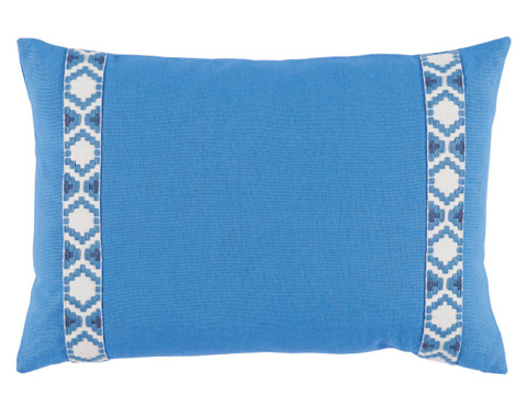 Lacefield Designs - Royal BlueSide Border Lumbar Pillow - D1004