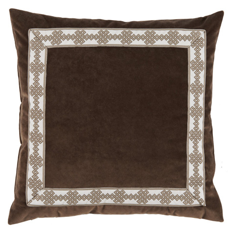 Lacefield Designs - Brown Velvet Border Throw Pillow - D1012