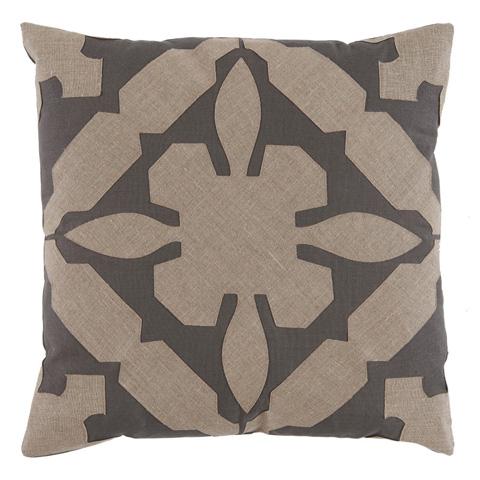 Lacefield Designs - Tan Grey Applique Linen Pillow - D1018