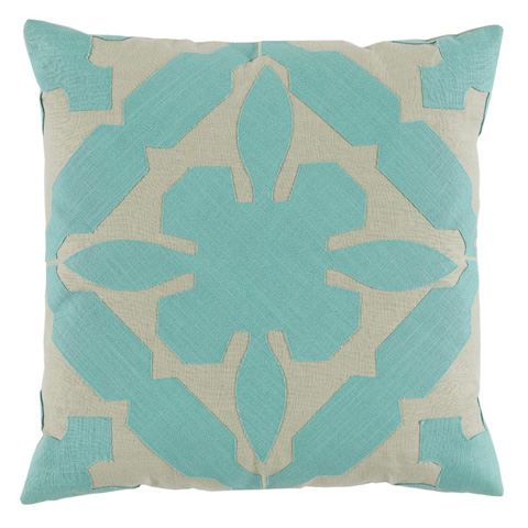 Lacefield Designs - Seafoam Applique Throw Pillow - D1021