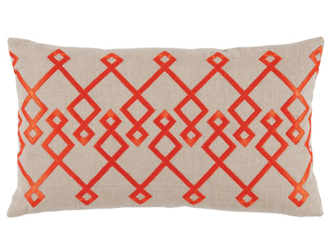 Lacefield Designs - Orange Tan Embroidered Lumbar Pillow - D1028