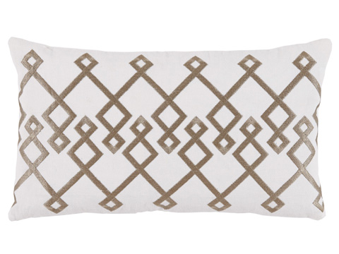 Lacefield Designs - White GoldEmbroidered Lumbar Pillow - D1033