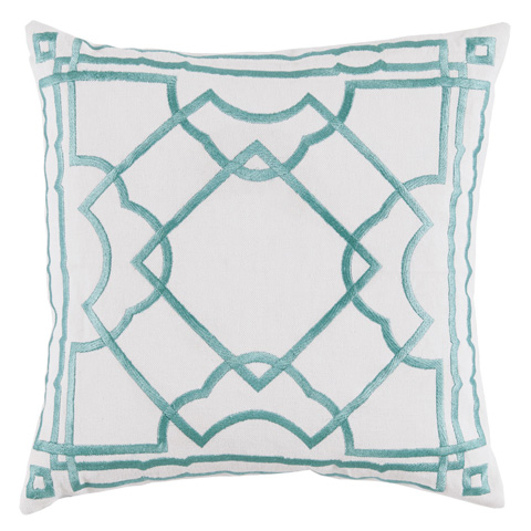 Lacefield Designs - Aqua and White Embroidered Gatsby Pillow - D1034