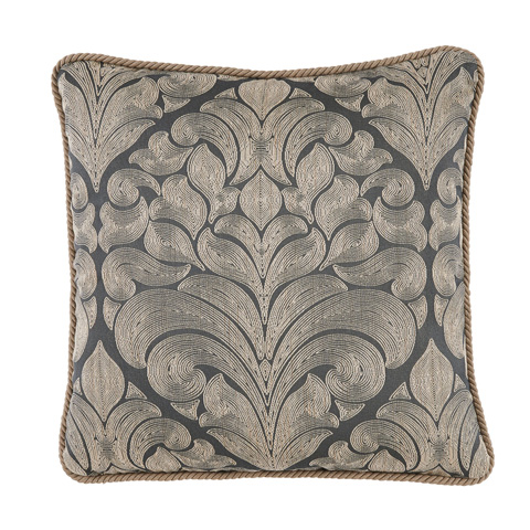 Lacefield Designs - Fog Blue Woven Medallion Rope Trim Pillow - D1045