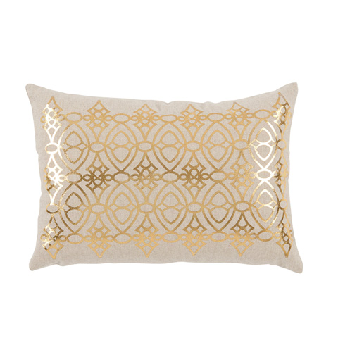 Lacefield Designs - Gold Foil Printed White Lumbar Pillow - D1047