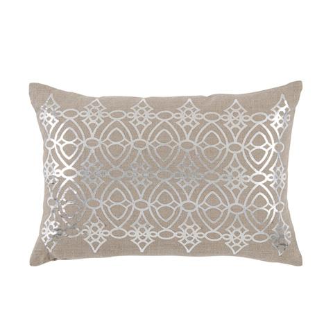 Lacefield Designs - Silver Foil Printed Neutral Lumbar Pillow - D1048