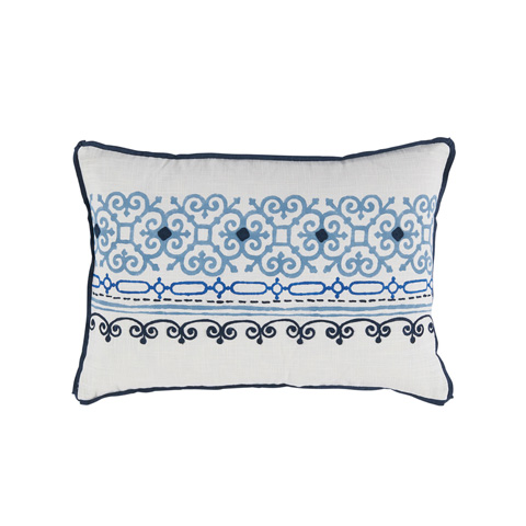 Lacefield Designs - Blue FogEmbroidered White Lumbar Pillow - D1054