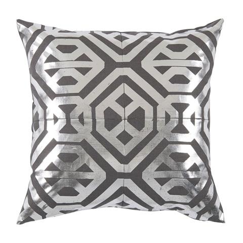 Lacefield Designs - Silver CharcoalFoil Print Linen Pillow - D1056