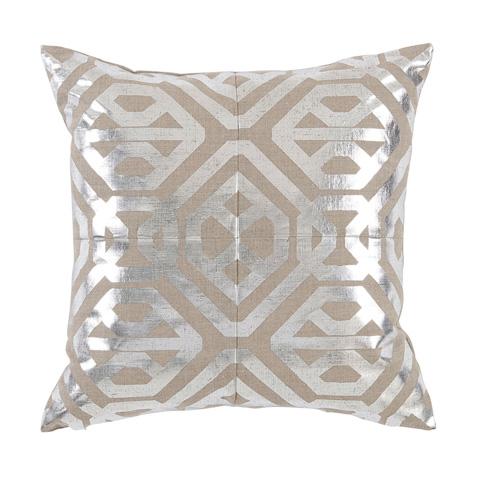 Lacefield Designs - Silver Metallic Foil Natural Linen Pillow - D1057