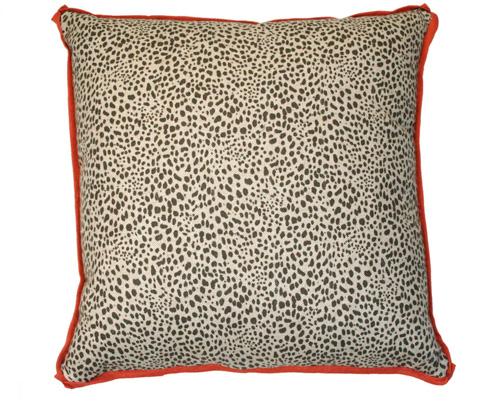Lacefield Designs - Leopard Print Spice Orange Trim Pillow - D149
