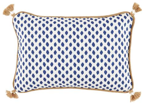Lacefield Designs - Tassel Corner Navy Dot Print Lumbar Pillow - D310