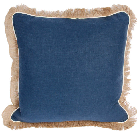 Image of Navy Blue Solid Linen Fringe Pillow
