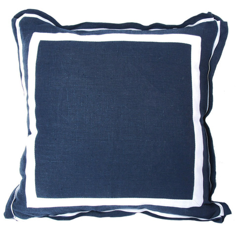 Lacefield Designs - Navy Linen White Double Border Pillow - D313