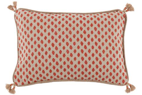 Lacefield Designs - Tassel Corner Geranium Dot Print Pillow - D338