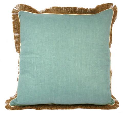Lacefield Designs - Aqua Fringe Linen Pillow - D436