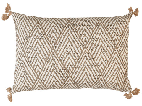 Lacefield Designs - Tan and White Corner Tassel Chevron Pillow - D716