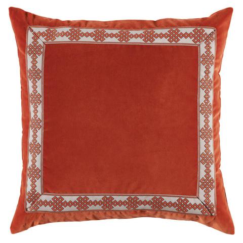 Lacefield Designs - Orange Velvet Amalfi Tape Border Throw Pillow - D798