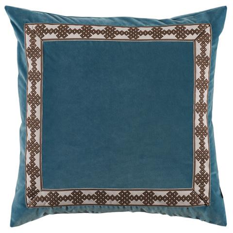Lacefield Designs - Blue Velvet Border Throw Pillow - D800