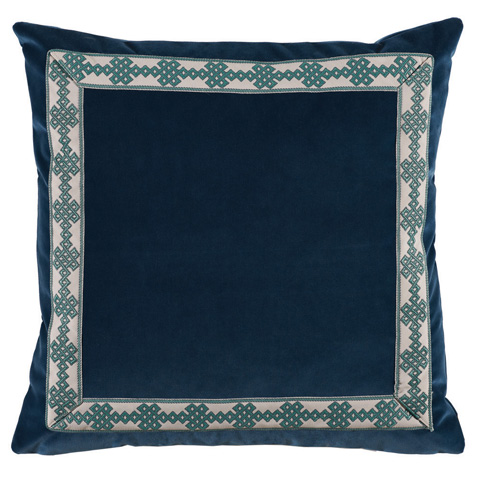 Image of Navy Denim Velvet Throw Pillow