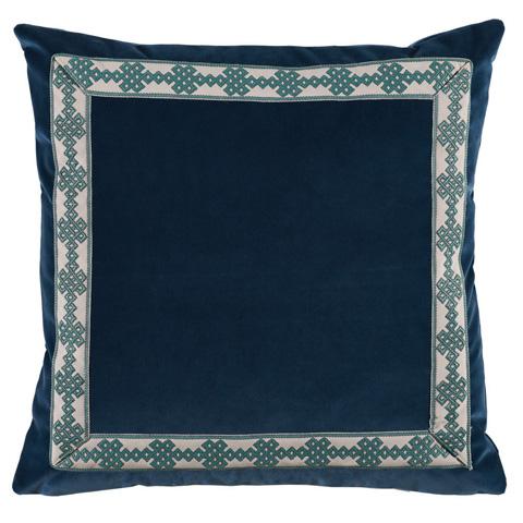 Lacefield Designs - Navy Denim Velvet Throw Pillow - D805