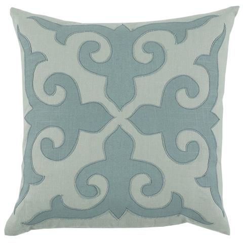 Lacefield Designs - Pale Blue Mosaic Applique Pillow - D830