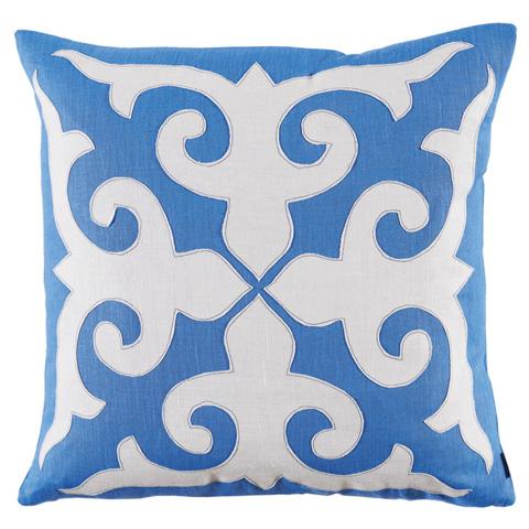 Lacefield Designs - Blue Mosaic Applique Throw Pillow - D831
