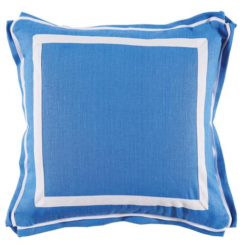 Lacefield Designs - Royal Blue White Border Linen Pillow - D845