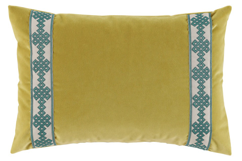 Lacefield Designs - Lime Green Velvet Braided Side Panel Lumbar Pillow - D861