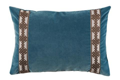 Lacefield Designs - Teal BlueVelvet Brown Side Panel Lumbar Pillow - D865