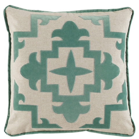 Lacefield Designs - Cream and Viridian Applique Throw Pillow - D895