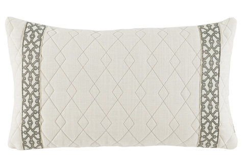 Lacefield Designs - Quilted Ivory Lumbar Pillow - D905