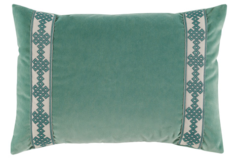 Lacefield Designs - Viridian Green Velvet Side Panel Lumbar PIllow - D908