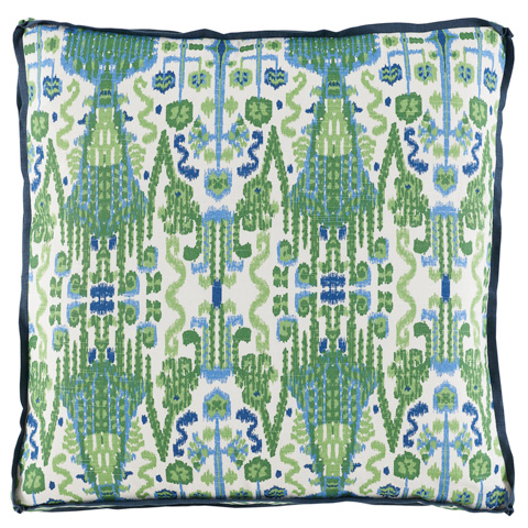 Lacefield Designs - Kelly Green Ikat Printed Throw Pillow - D921