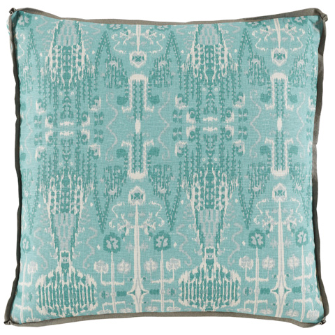 Image of Aqua Ikat Bombay Mist Pillow