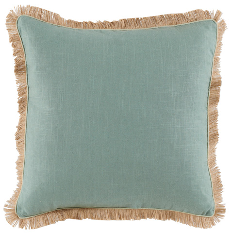 Lacefield Designs - Fringe Border Aquamarine Linen Throw Pillow - D931